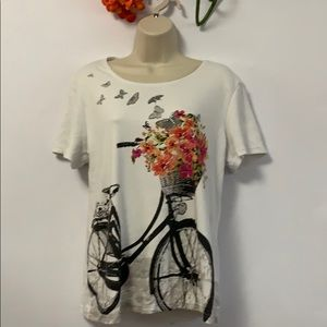 GRAPHIC TEE COTTON BLEND BUTTERFLIES ,BIKE SZ L
